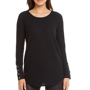 Chaser waffle knit T-shirt in black L/S Large